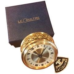 Vintage Brass Eight Day Miniature Travel Alarm Clock by LeCoultre New in Box