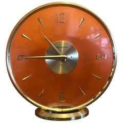 Vintage Brass Eight Day Mystery Desk Clock by Jeager-LeCoultre