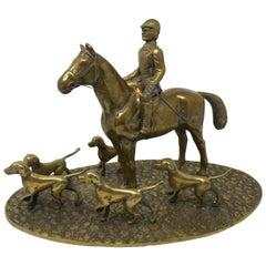 Vintage Brass English Hunt Sculpture