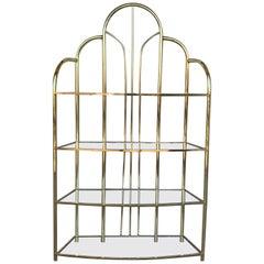 Vintage Brass Étagère Arched Glass Display Shelf with Four Shelves