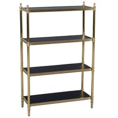 Vintage Brass Etagere with Black Lacquer Shelves