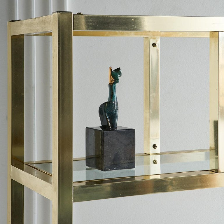 Mid-Century Modern Vintage Brass Étagère with Glass Shelves For Sale