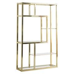 Vintage Brass Étagère with Glass Shelves