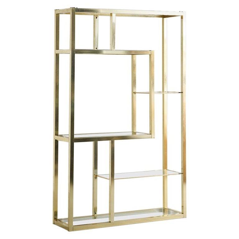 Vintage Brass Étagère with Glass Shelves For Sale