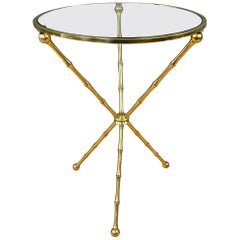 Vintage Brass Faux-Bamboo Side Table, Maison Baguès Style