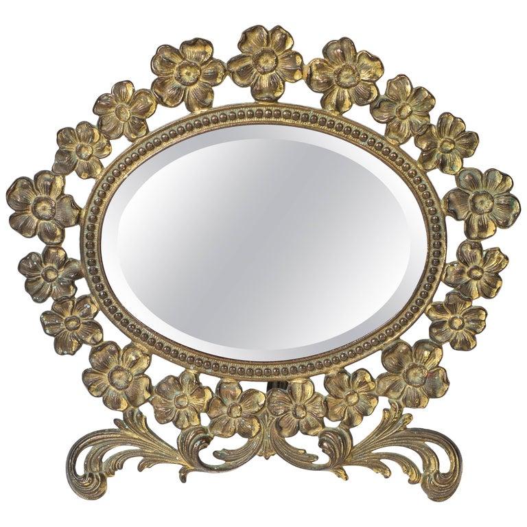 Vintage Brass Flower Frame Vanity Mirror At 1stdibs