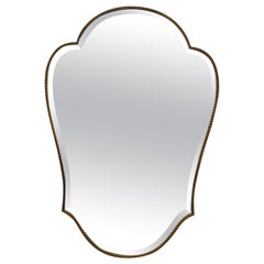 Vintage Brass Framed Mirror, Italy, 1950s