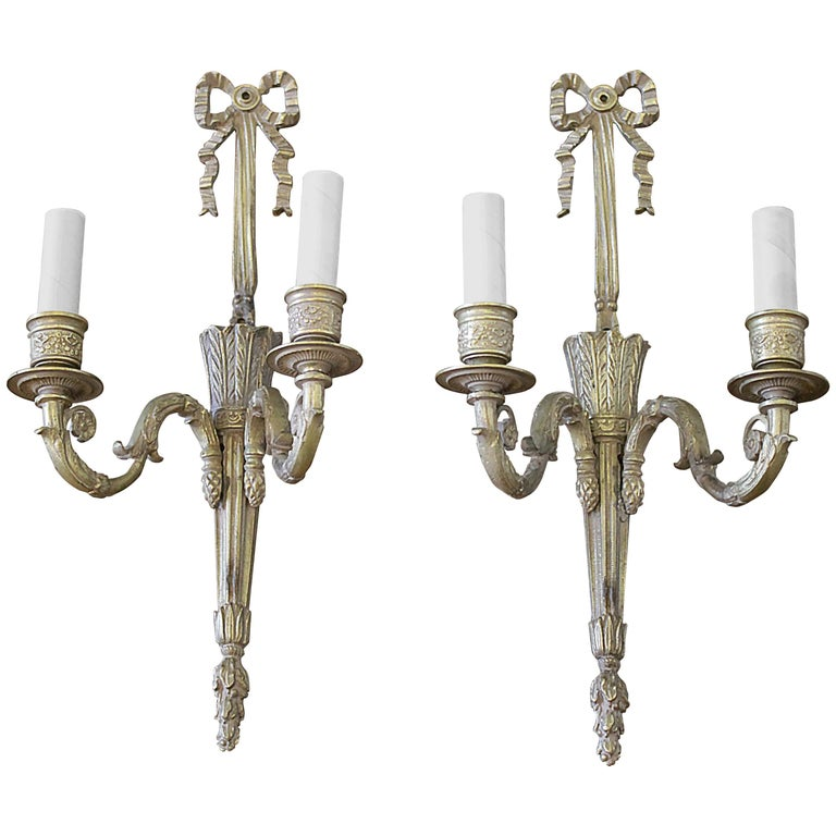 Br French Style Ribbon Sconces With