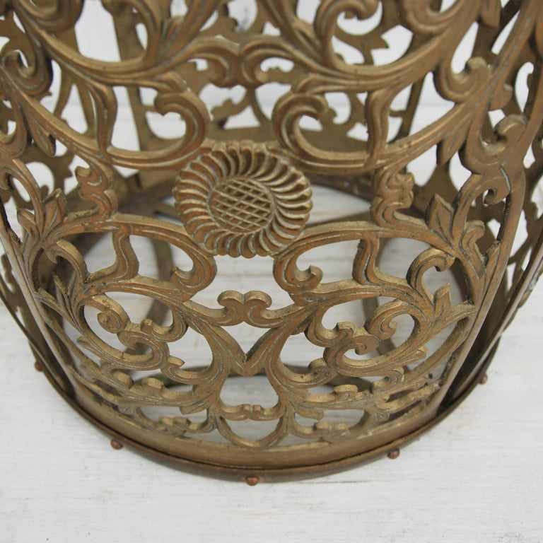 Heavy, polished brass stool. Chinoisere style, with floral fretwork throughout.