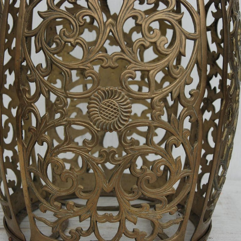 Chinoiserie Vintage Brass Fretwork Stool For Sale