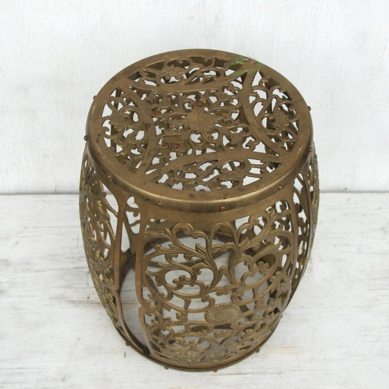 Asian Vintage Brass Fretwork Stool For Sale