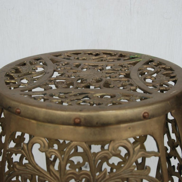 Mid-20th Century Vintage Brass Fretwork Stool For Sale