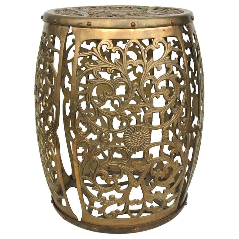 Vintage Brass Fretwork Stool For Sale