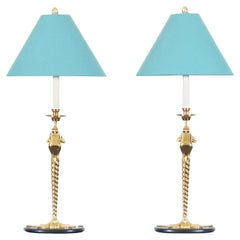 "Vintage Brass ""Frogs"" Lamps by Chapman"