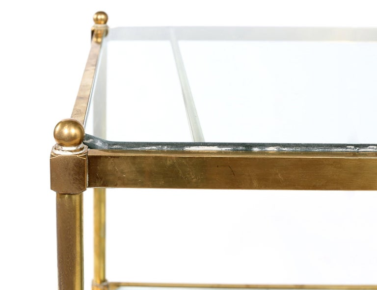 Italian Vintage Brass / Glass / Mirror Two-Tiered Bar Cart For Sale