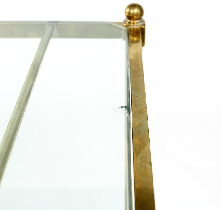 20th Century Vintage Brass / Glass / Mirror Two-Tiered Bar Cart For Sale