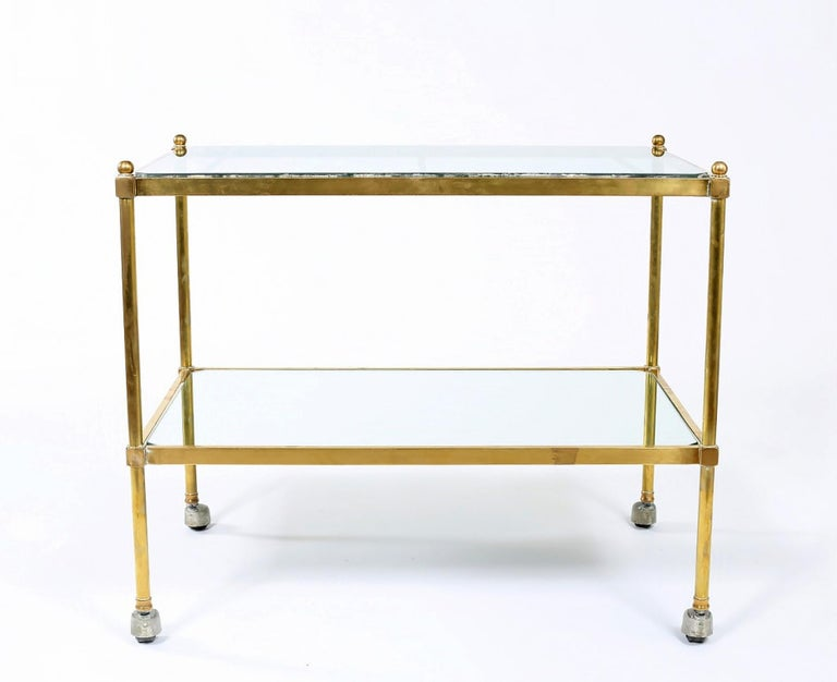 Vintage Brass / Glass / Mirror Two-Tiered Bar Cart For Sale 3