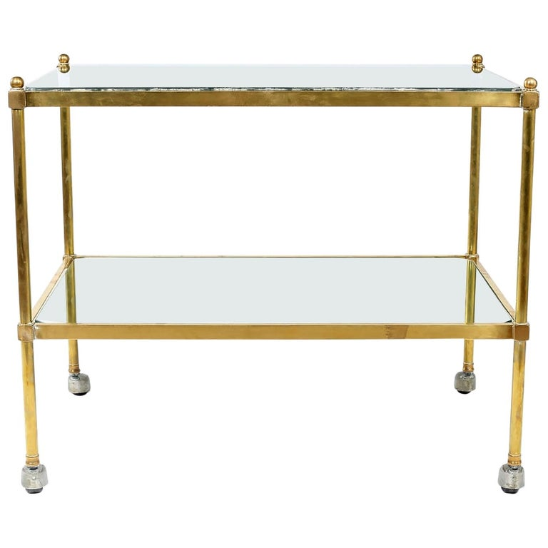 Vintage Brass / Glass / Mirror Two-Tiered Bar Cart For Sale