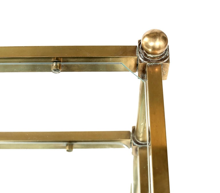 Vintage Brass / Glass Three Tiered Bar Cart  For Sale 6