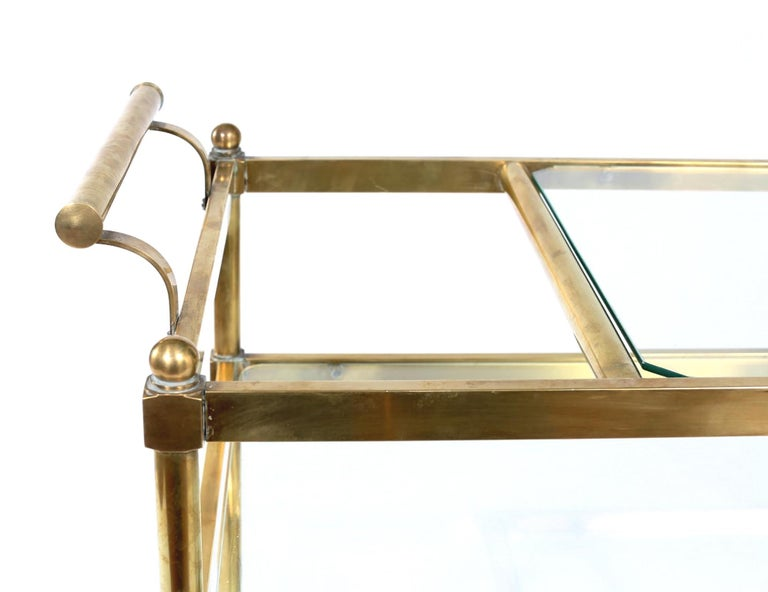 Italian Vintage Brass / Glass Three Tiered Bar Cart  For Sale
