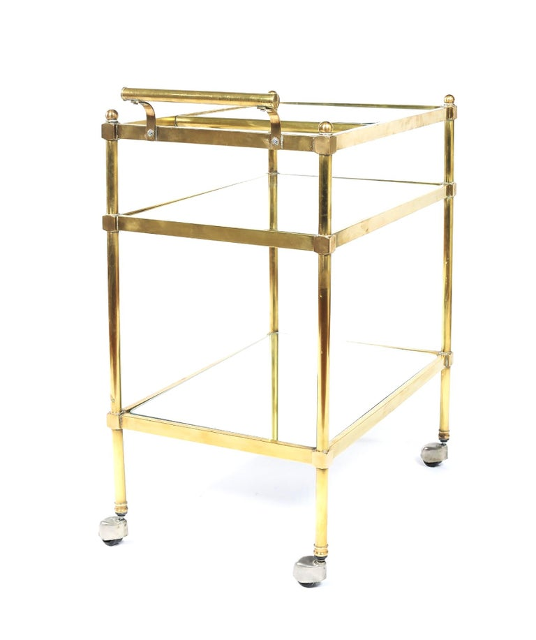 Mid-20th Century Vintage Brass / Glass Three Tiered Bar Cart  For Sale