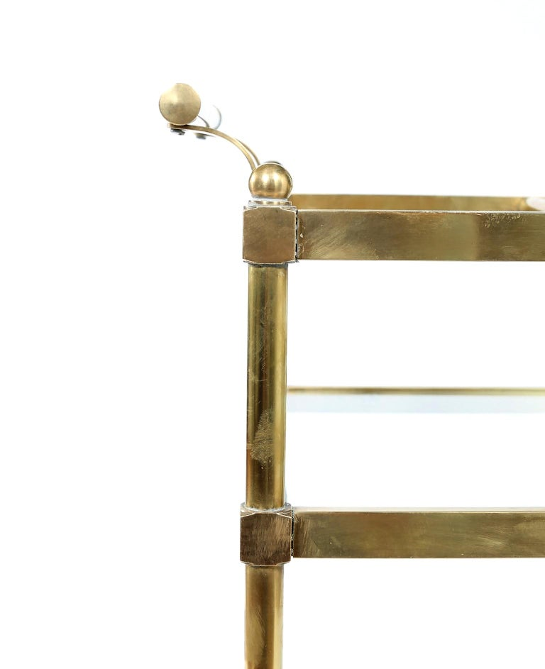 Vintage Brass / Glass Three Tiered Bar Cart  For Sale 1