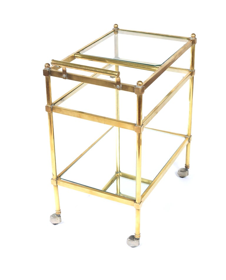 Vintage Brass / Glass Three Tiered Bar Cart  For Sale 2