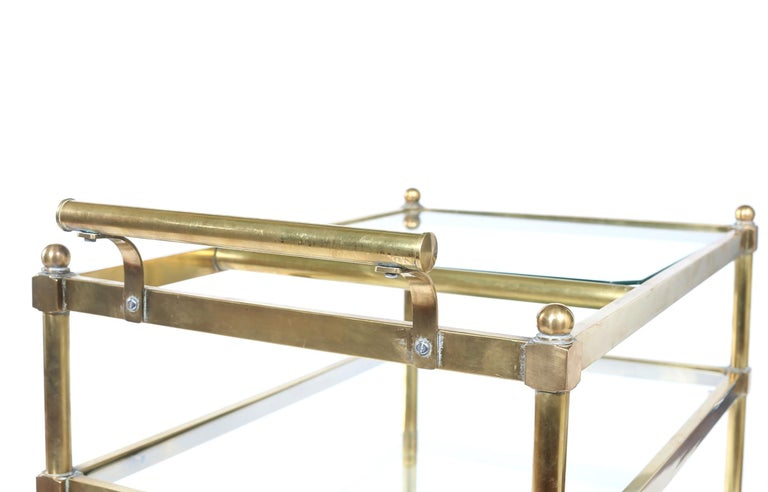 Vintage Brass / Glass Three Tiered Bar Cart  For Sale 4