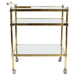 Vintage Brass / Glass Three Tiered Bar Cart