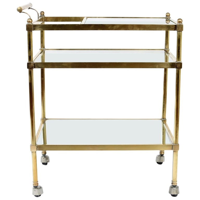 Vintage Brass / Glass Three Tiered Bar Cart  For Sale