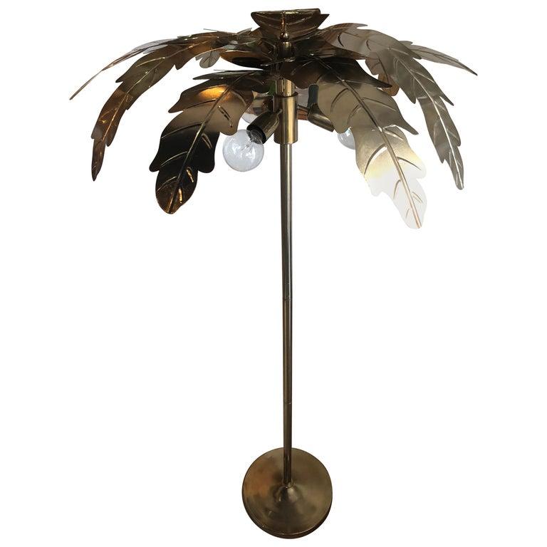 Vintage Brass Gold Metal Palm Tree Leaf Leaves Frond Floor