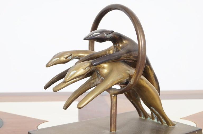 Mid-Century Modern Vintage Brass Greyhound Paperweight For Sale