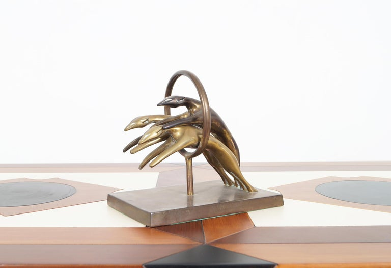 Vintage Brass Greyhound Paperweight In Good Condition For Sale In Burbank, CA