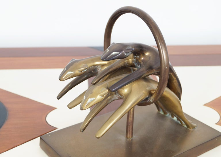 Late 20th Century Vintage Brass Greyhound Paperweight For Sale