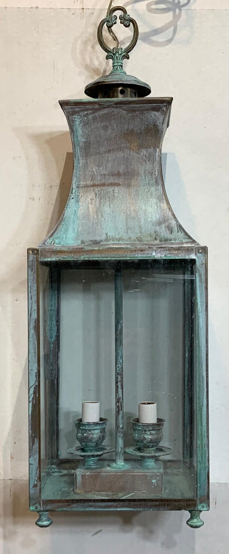 20th Century Vintage Brass Hanging Lantern For Sale