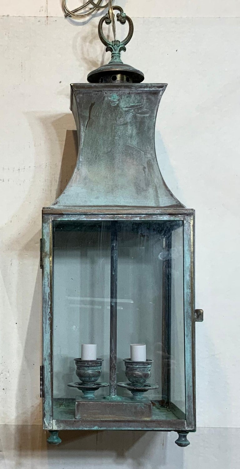 Vintage Brass Hanging Lantern For Sale 2