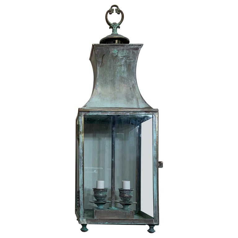 Vintage Brass Hanging Lantern For Sale