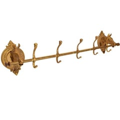 Vintage Brass Horse Head Coat Rack