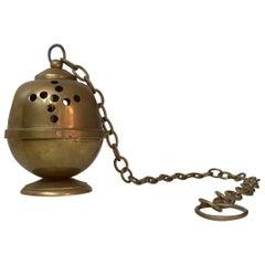 Vintage Brass Incense Burner, Chained Pendulum