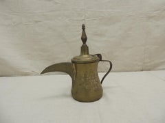 Vintage Brass Indian Tea Pot with Handle and Lid