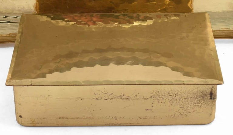 Vintage Brass Jewelry Box and Plate by Eugen Zint, Germany Early 20th Century In Good Condition For Sale In Roma, IT