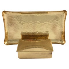 Vintage Brass Jewelry Box and Plate by Eugen Zint, Germany Early 20th Century