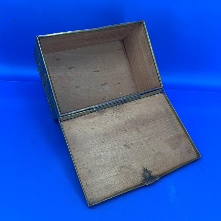Vintage Brass Jewelry Box With Religious Scenes For Sale 3