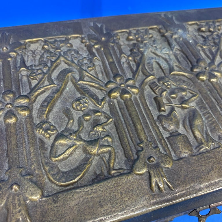 Vintage Brass Jewelry Box With Religious Scenes For Sale 4