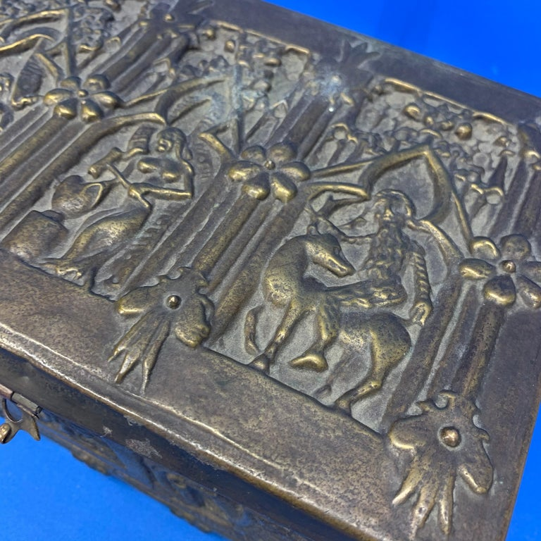 Vintage Brass Jewelry Box With Religious Scenes For Sale 5