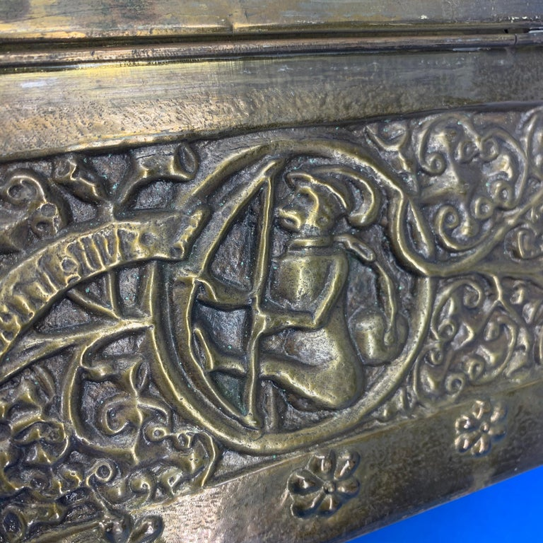 Vintage Brass Jewelry Box With Religious Scenes For Sale 7
