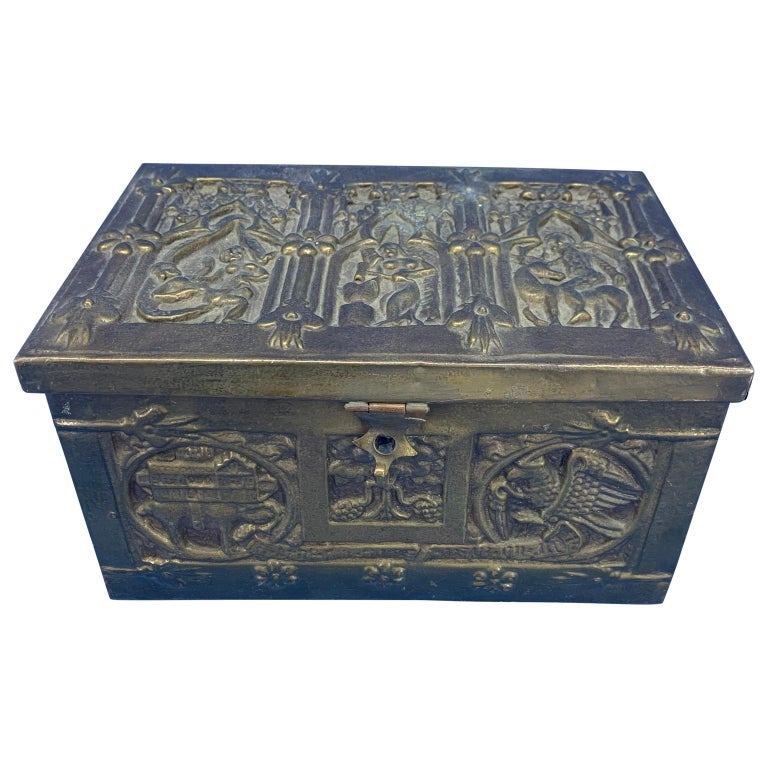 Baroque Vintage Brass Jewelry Box With Religious Scenes For Sale