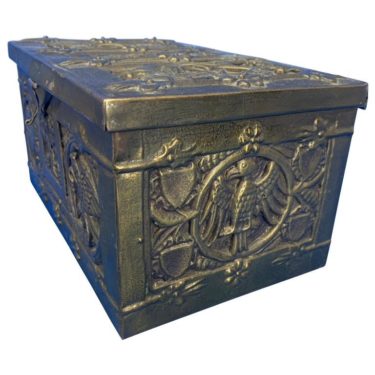 European Vintage Brass Jewelry Box With Religious Scenes For Sale