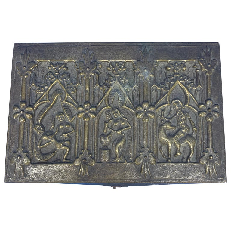 Pressed Vintage Brass Jewelry Box With Religious Scenes For Sale