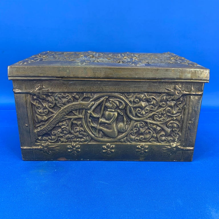 20th Century Vintage Brass Jewelry Box With Religious Scenes For Sale